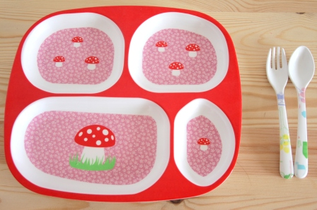 Mushroom toddler plate and fork and spoon set, toddler meals